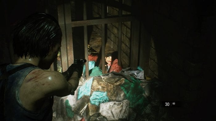 In the sewer, Jill spots one of the twenty Charlie dolls hidden in the game.
