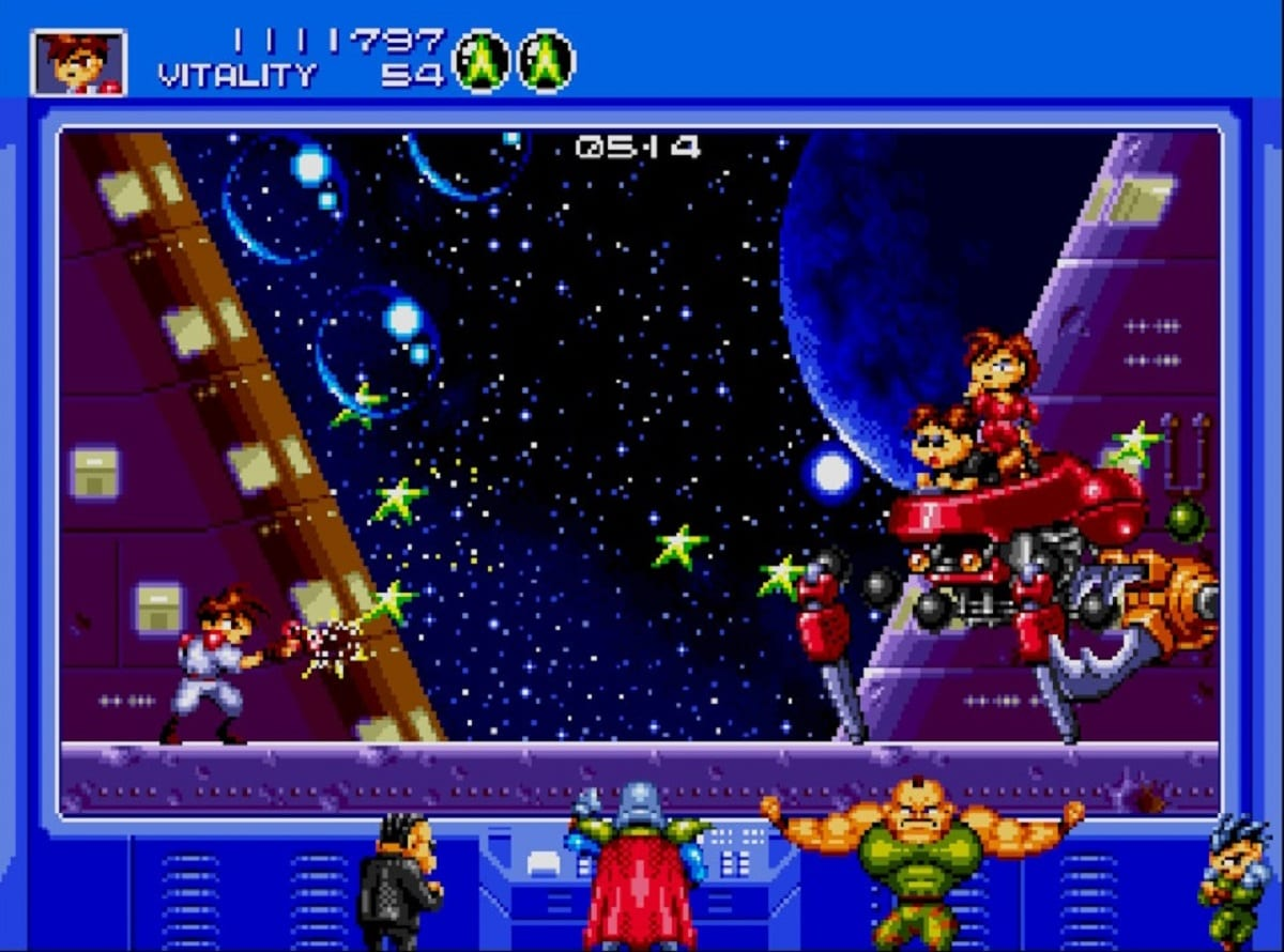 Gunstar Heroes final battle as the villains of the game look on.