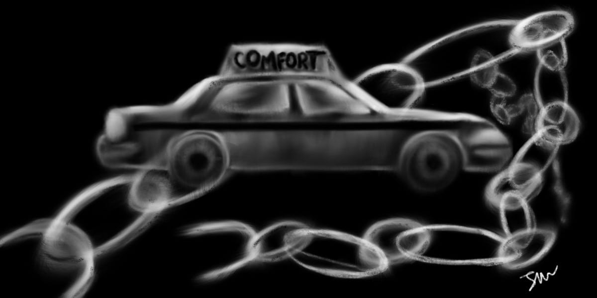 drawing of a taxi wrapped in a large chain