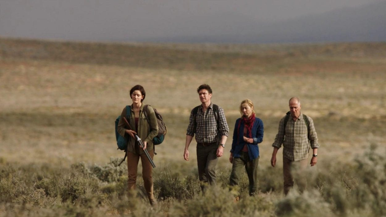 Group walking across the Outback