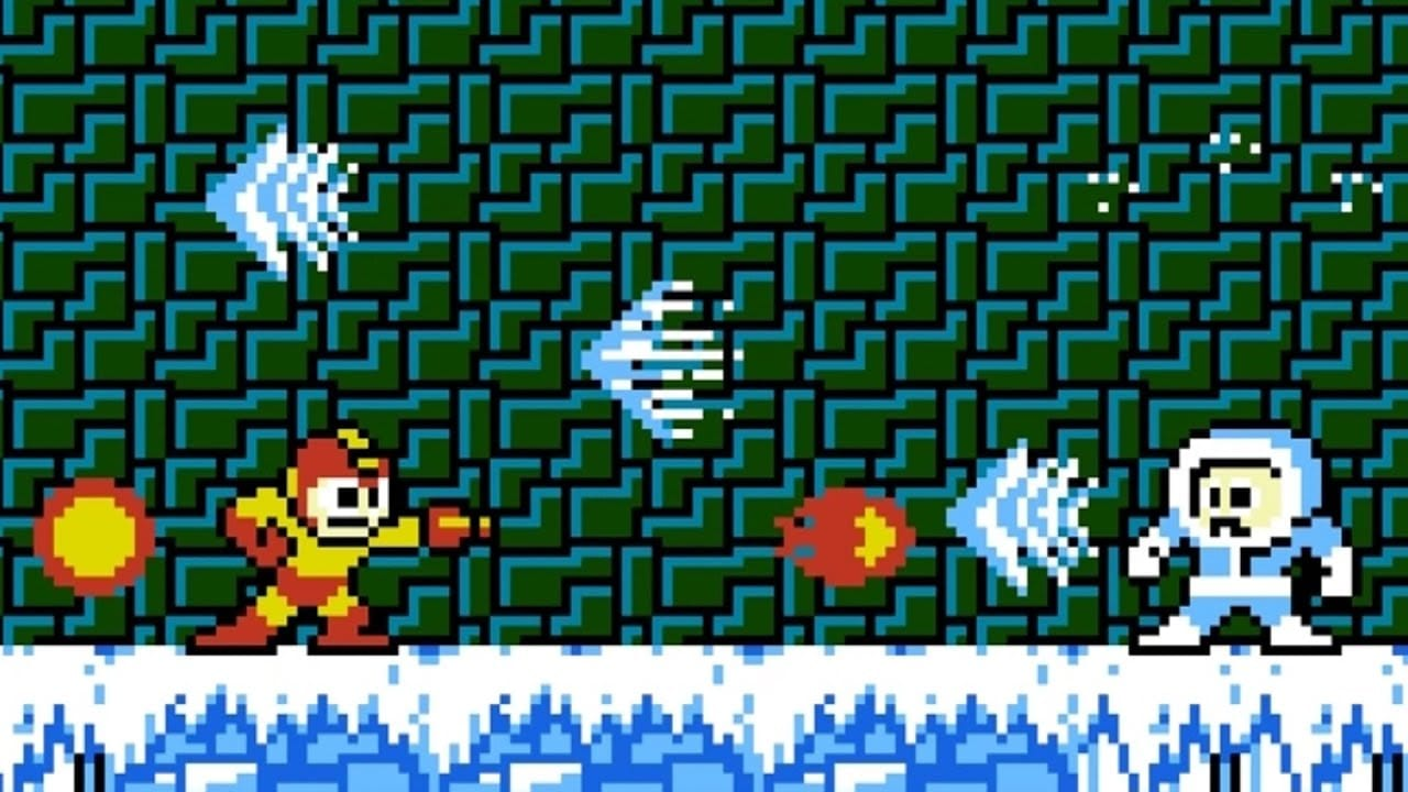Mega Man, using Fire Man's powers, duels against the hooded blue and white Ice Man on an 8-bit sheet of ice.