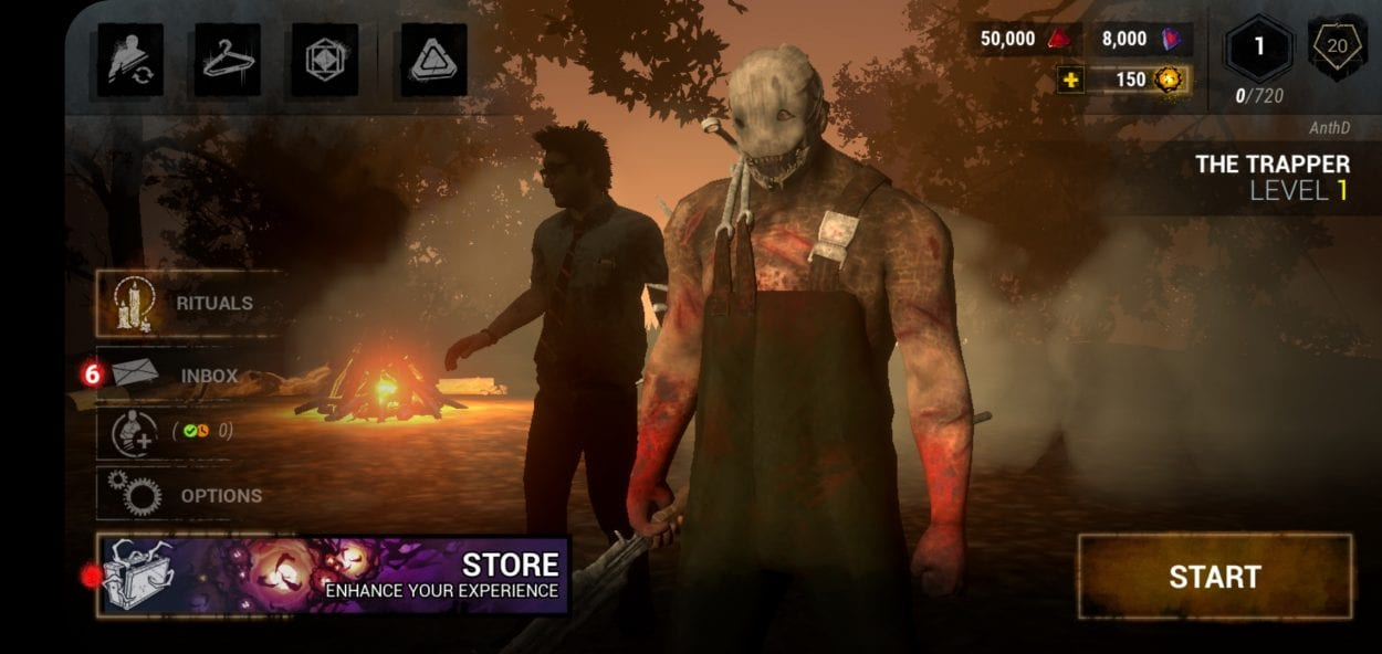 Dead by Daylight Mobile main menu shows The Trapper and various options available