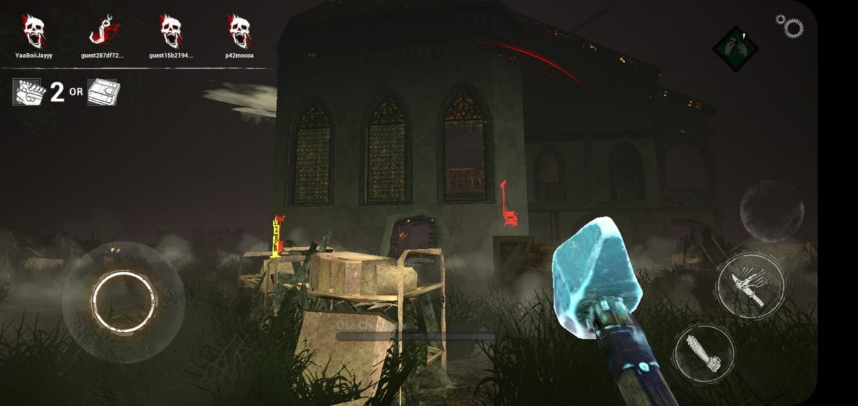 The killer's in game view shows the environment and in game HUD