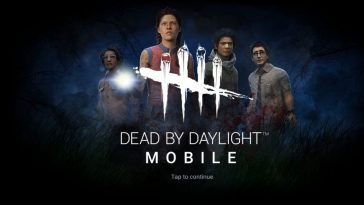 Dead by Daylight mobile home screen showing survivors Claudette, Meg, Jake and Dwight