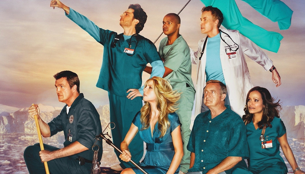 The cast of Scrubs sail in a boat