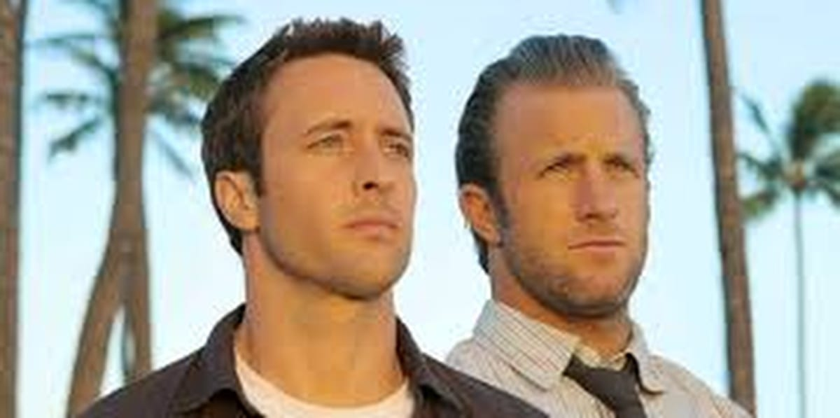 Steve and Danny in Hawaii Five-0, standing beside one another with palm trees in the background looking straight ahead