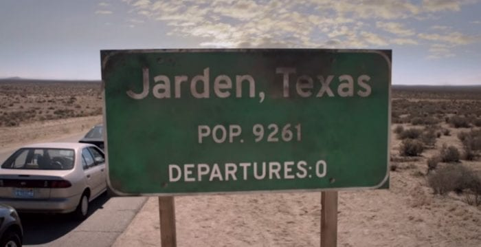 A sign for Jarden, Texas in Axis Mundi