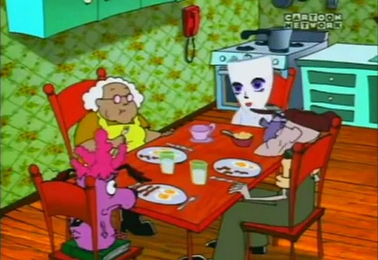 Kitty, wearing a mask, sits with Courage, Muriel and Eustace talking about why she had to leave her home.