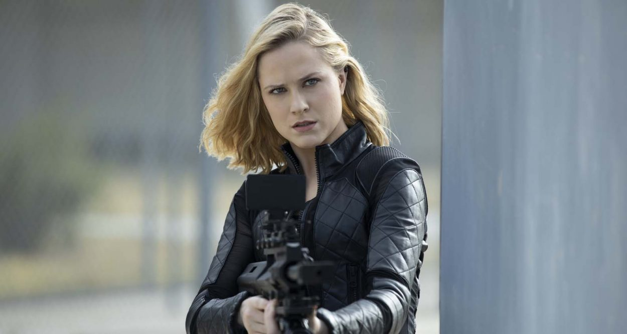 Dolores puts her gun at an off-screen Maeve