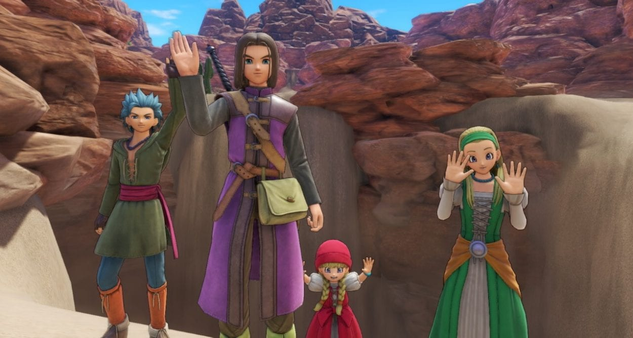 The cast of Dragon Quest 11 waves to the camera.