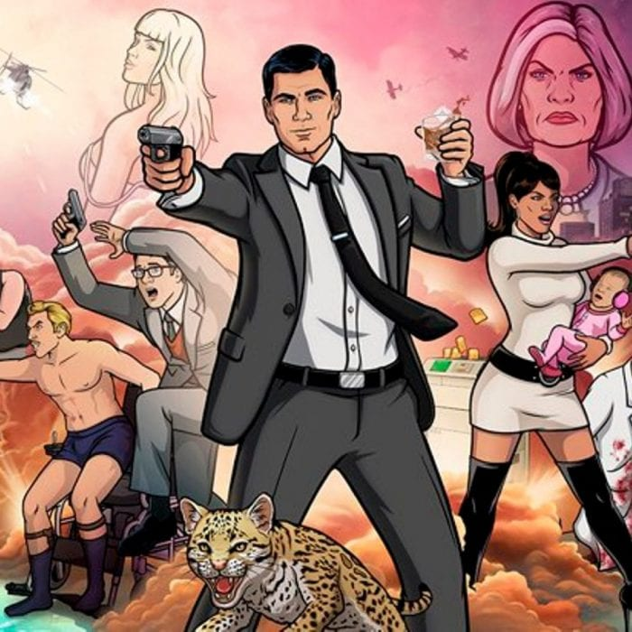 promo art for Archer with Archer shooting a gun, and all other charcters striking a pose behind him