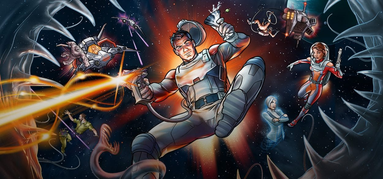 Archer shooting a gun in space with the other characters behind him