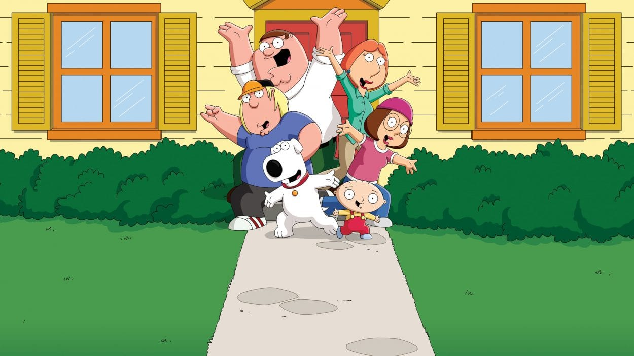 Family Guy main characters all jumping and looking forward