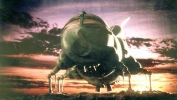 Starbug in flight against a purple and orange sky