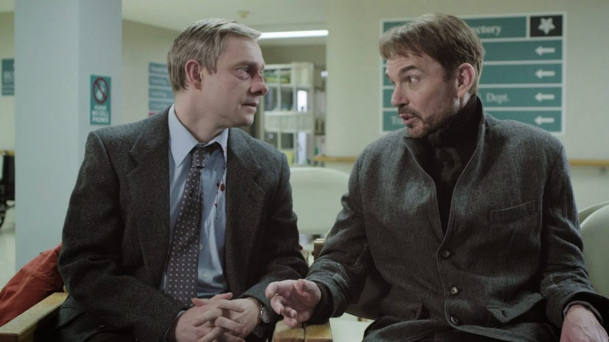 Lester and Malvo meet and talk in the hospital waiting room