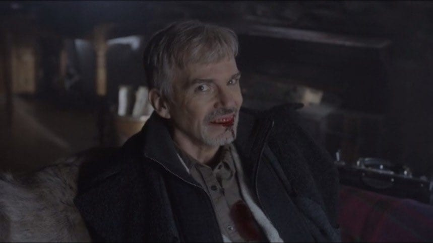 Lorne Malvo grins as he dies from a shotgun wound