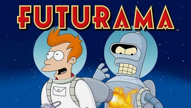 Futurama logo art with Fry and Bender out in space