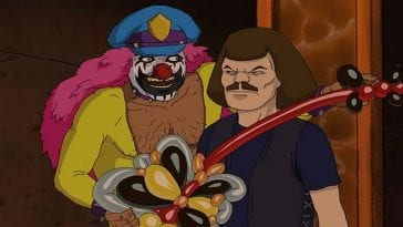 A clown presents a man a balloon guitar in Metalocalypse