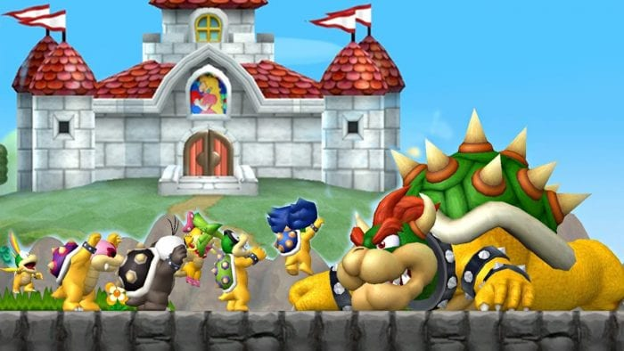 Bowser lands on his stomach in front of the Koopa Kids