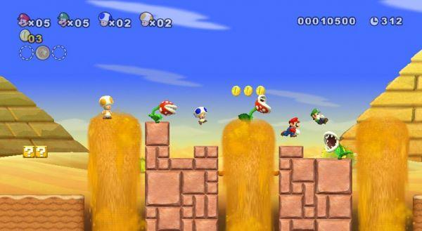 Mario, Luigi, and two Toads leap through a desert level to avoid Piranha Plants