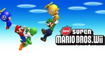 Mario jumps with a Yoshi, Luigi hands on to a Toad in a yellow Propeller Suit, and a blue Toad flies through the air with their own propeller suit. The title is in the bottom right.