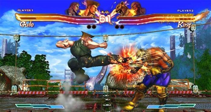 Guile jump kicks King in Street Fighter x Tekken