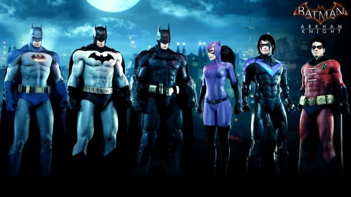 A line up of a bunch of alternate costumes from Batman Arkham Knight