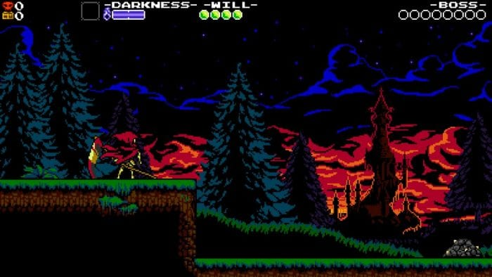 Specter Knight stands looking into the distance at the beginning of a level in Specter of Torment