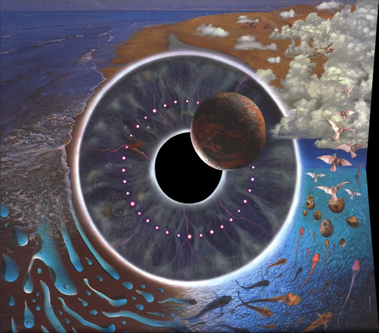 A surreal image of blue sky and water bend around a spherical vortex that had working light and an image of an orbiting moon.