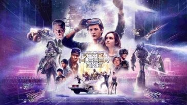 Ready Player One poster with pictures of the ensemble cast