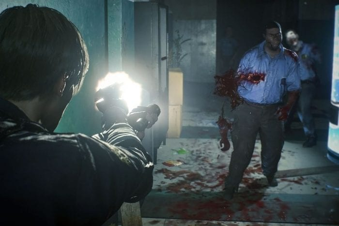 Leon fires at a cop-turned-zombie
