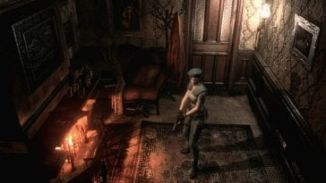 Jill Valentine stands in a well lit room in the Resident Evil remake