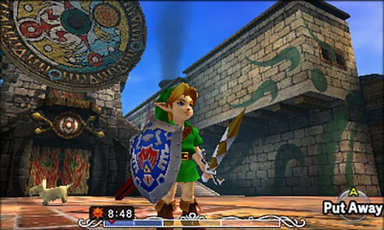 Link stands in Clock Town holding his sword and shield