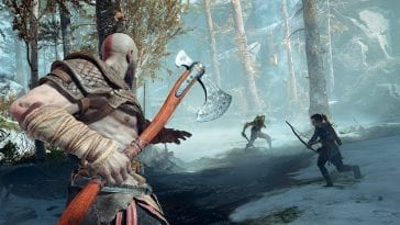 Kratos and Atreus fight a monster