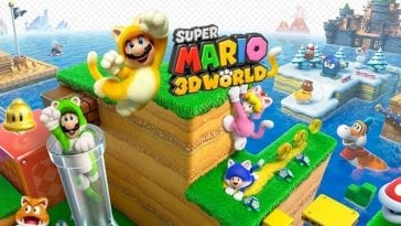 art for the game, with mario at the front in a cat suit and his friends all behind him
