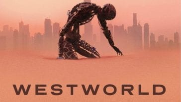A robot kneels hunched over on a banner for Westworld