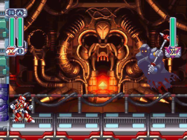 Mega Man X battles a grim looking reaper.