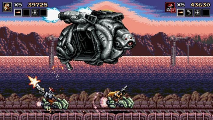 Blazing Chrome is a classic shoot em up. In this scene two character rides a motor bike and fires at an enemy copter.