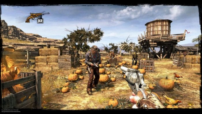 Call of Juarez gameplay in a pumpkin patch.