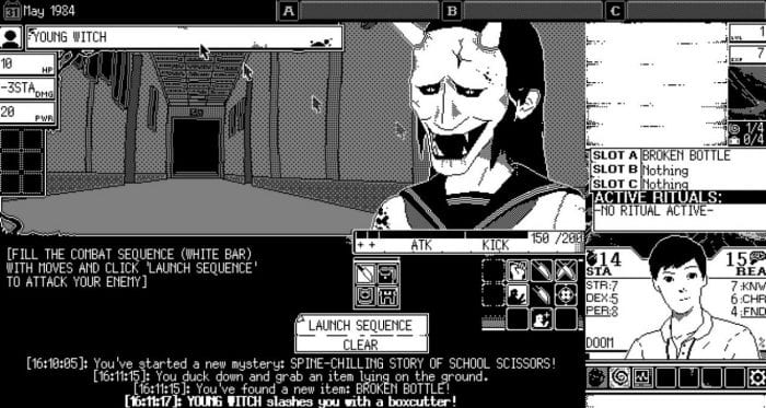 "The player confronts a ""young witch,"" a woman with an oni mask."