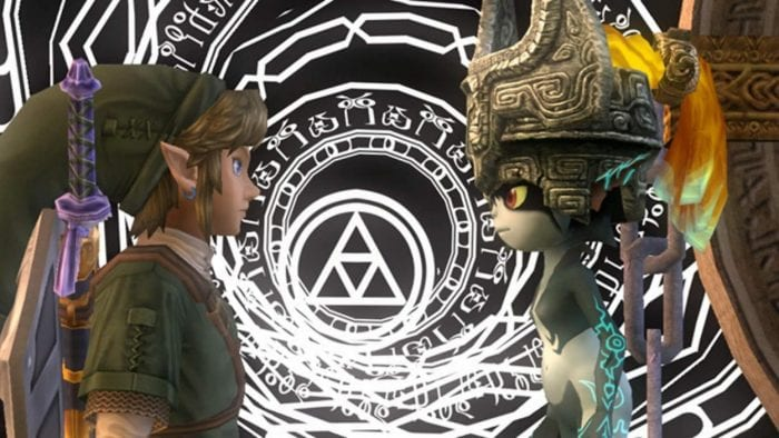 Link and Midna at the entrance to the Twilight Realm
