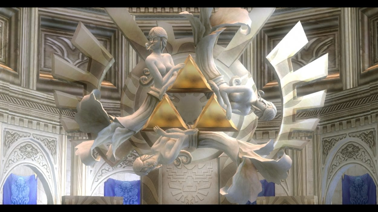 Statues of the 3 Goddesses and the Triforce