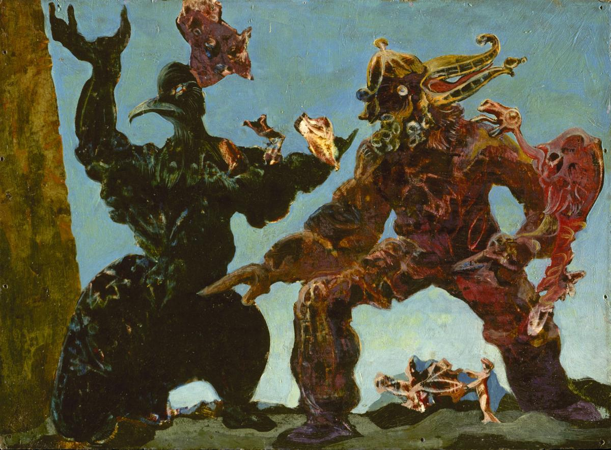 Two Surrealist Monster Barbarians appear to fight