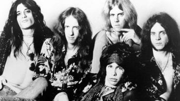 Black and white photo of Aerosmith