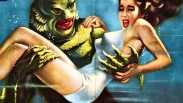 Close-up of monstrous green Gill-Man carrying away a screaming white woman in movie poster for Creature from the Black Lagoon.