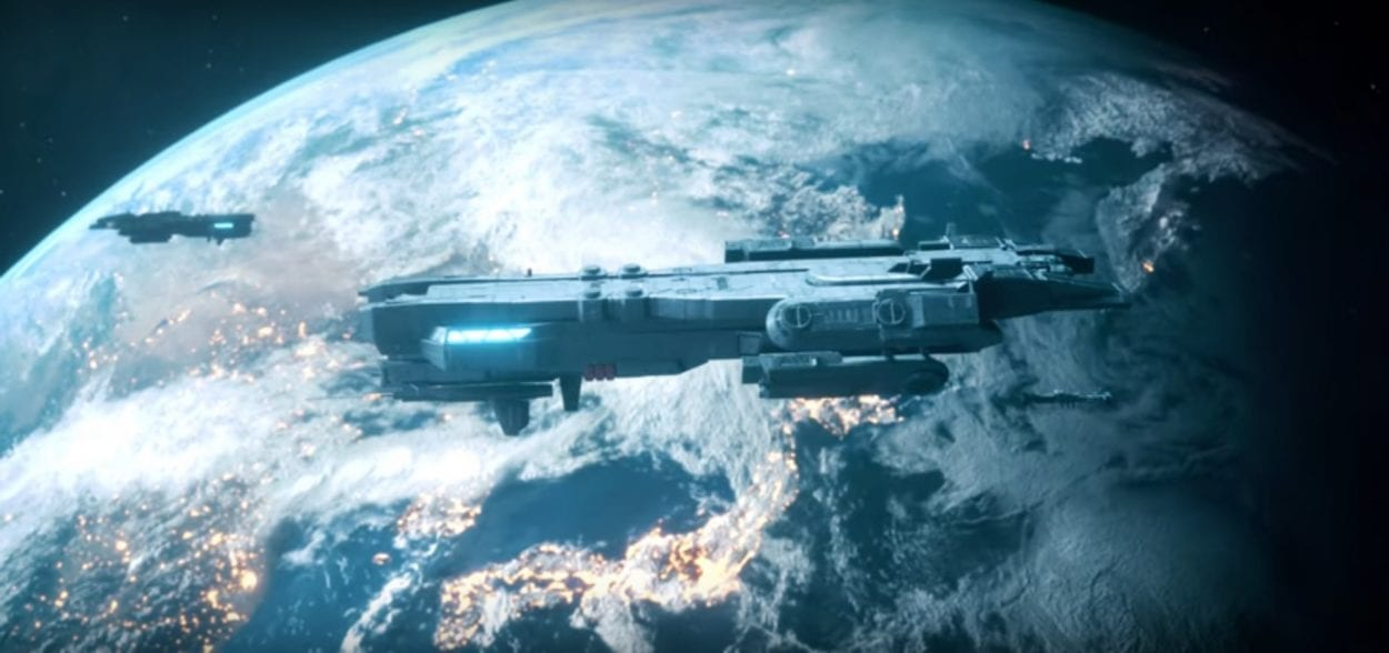 Space ship flies above a planet in promotional video for Species album