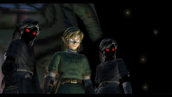 Link stands with two dark doppelgangers