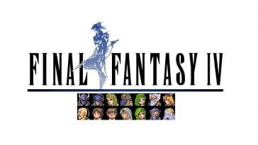 Final Fantasy IV title logo, which features Kain striking a pose, along with pixel portraits of the game's party members.
