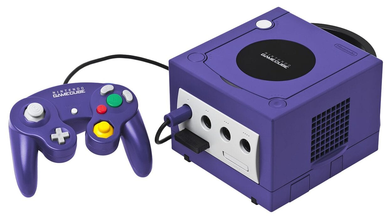 A purple GameCube and controller