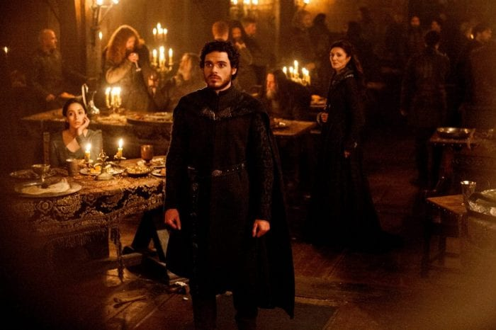 Robb Stark stands among his family and banner men at the Red Wedding